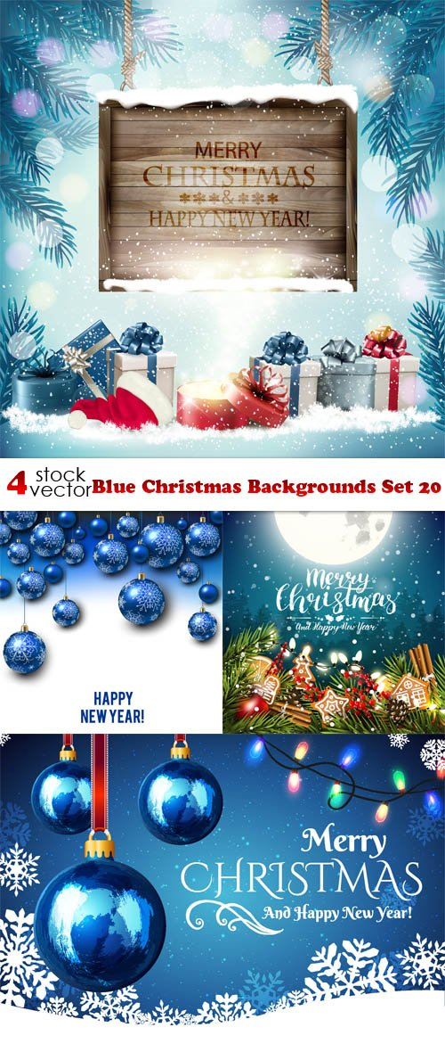 Vectors - Blue Christmas Backgrounds Set 20