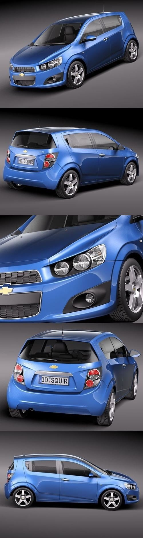 Chevrolet Sonic Aveo 2012 Compact Hatchback 3D Model
