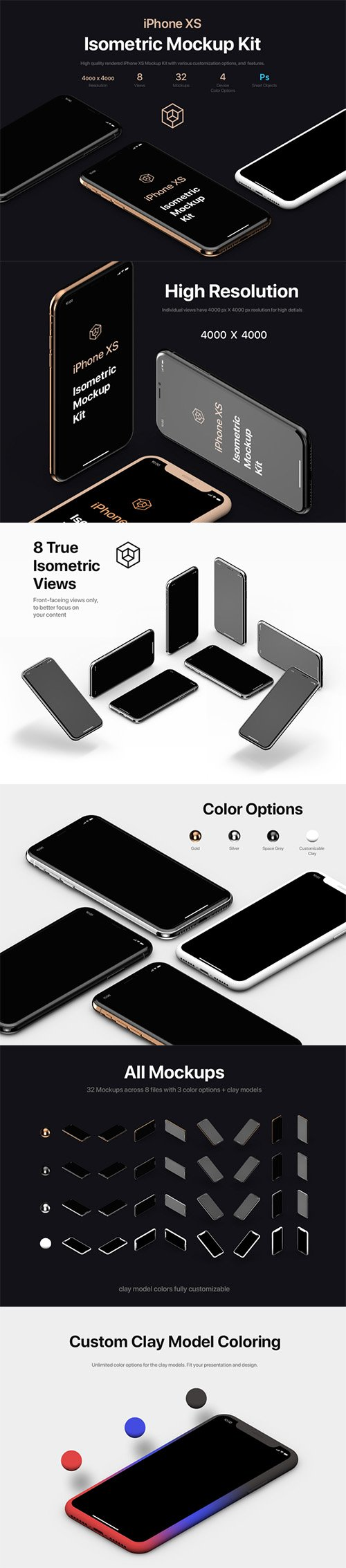 iPhone XS Isometric Mockups