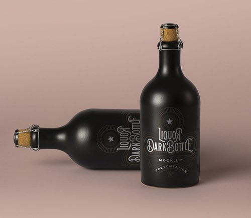 Dark Liquor Bottle Mockup Vol 2