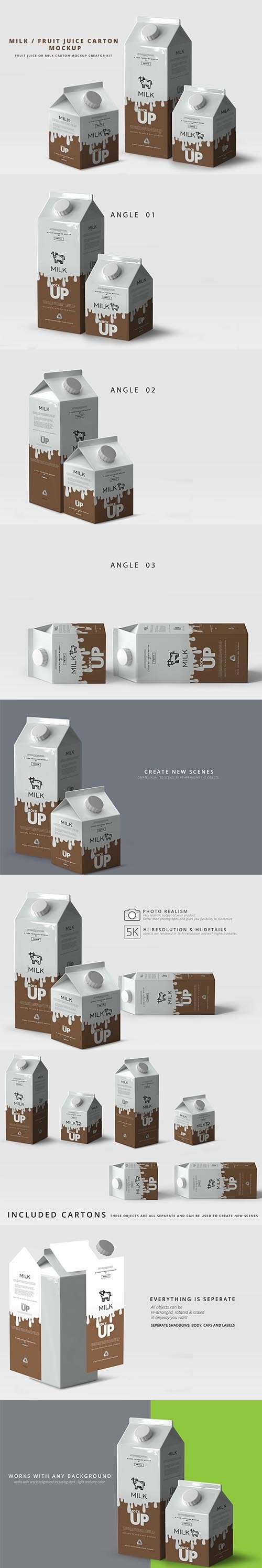 CreativeMarket - Milk Fruit Juice Carton Mockup 2964103