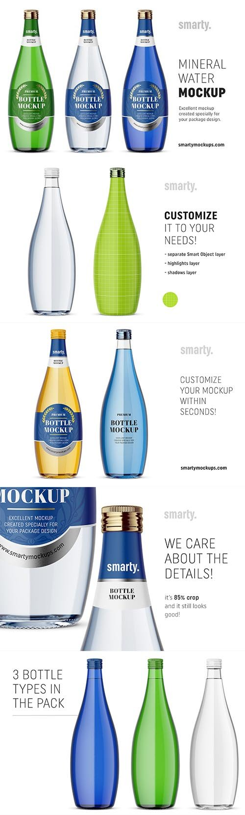 CreativeMarket - Glass mineral water bottle mockups 2975498