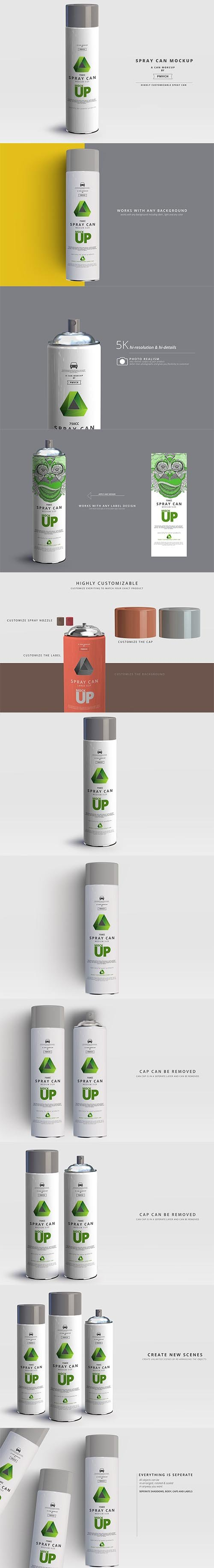 CreativeMarket - Spray Can Mockup - Large Size 2961965