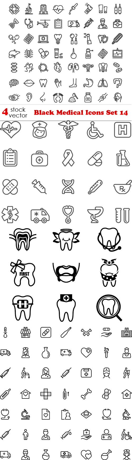 Vectors - Black Medical Icons Set 14