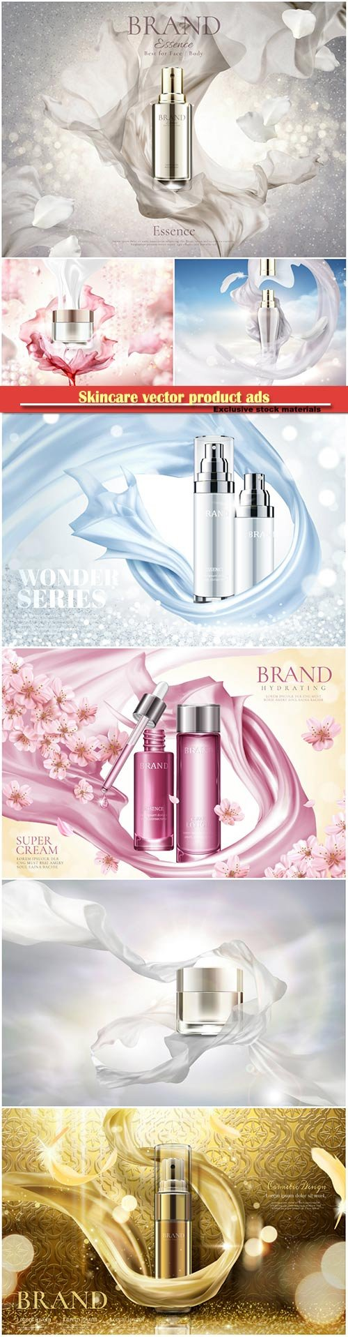 Skincare vector product ads, blank cream in 3d illustration