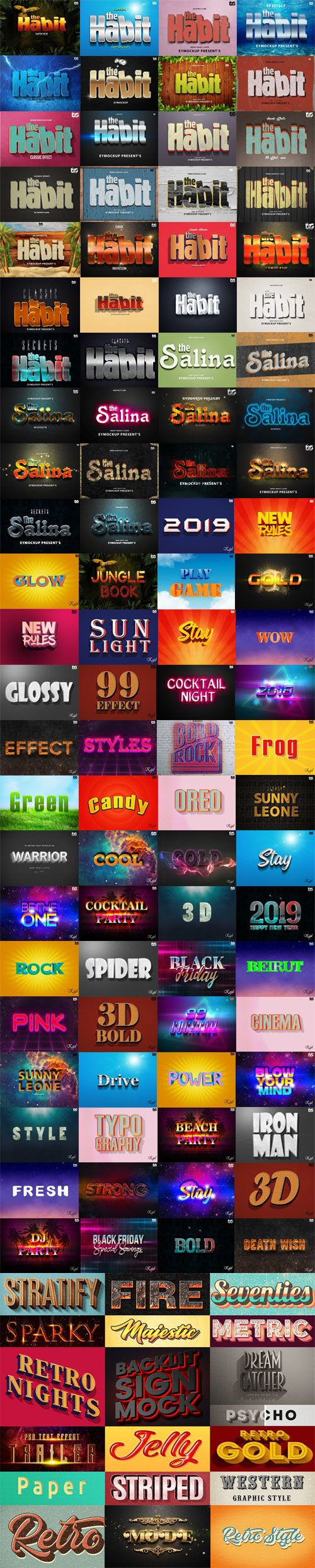 100+ Amazing 3D Photoshop Text Style Effects 2018