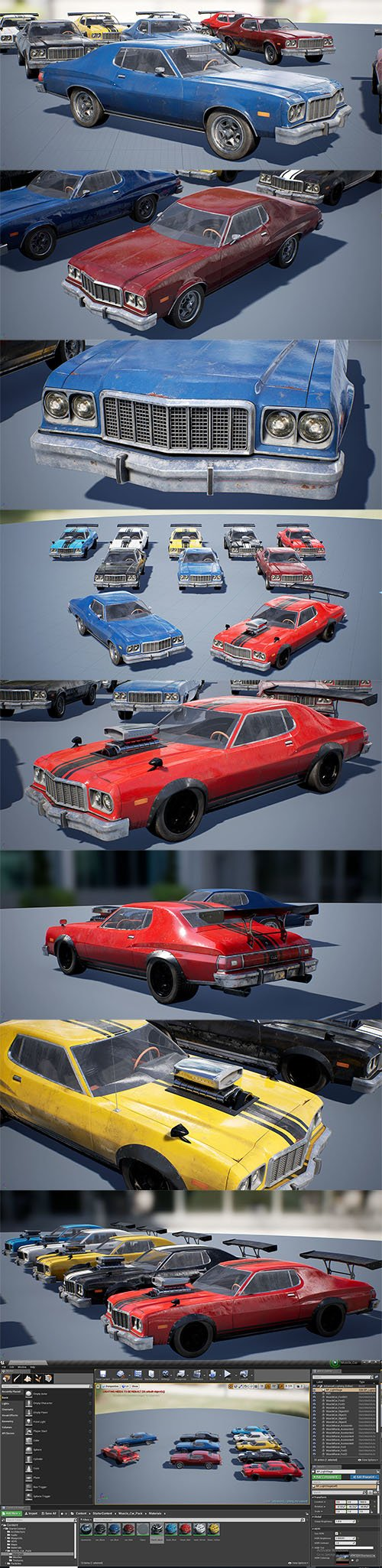 Classic Muscle Car Vehicle Pack UE4