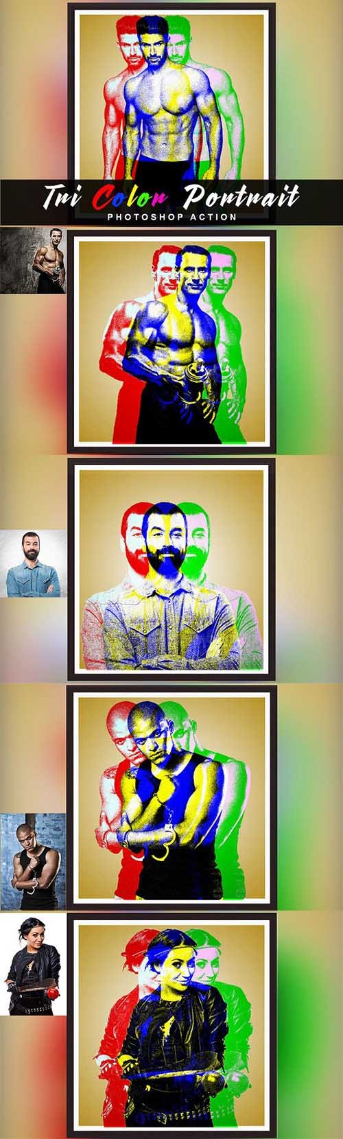 CreativeMarket - Tri Color Portrait Photoshop Action 2944703