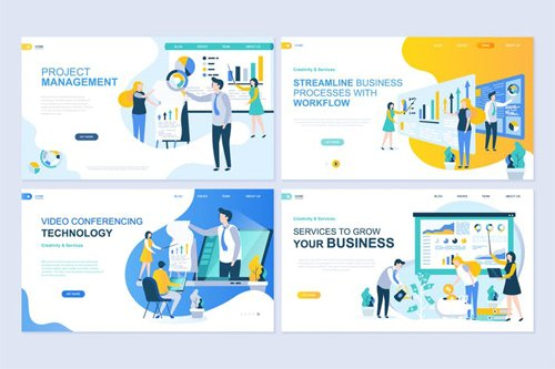 Landing Page Templates Flat Concept - 2