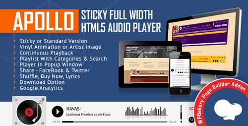 CodeCanyon - Apollo - Sticky Full Width HTML5 Audio Player for WPBakery Page Builder v1.4 (formerly Visual Composer) - 21396461