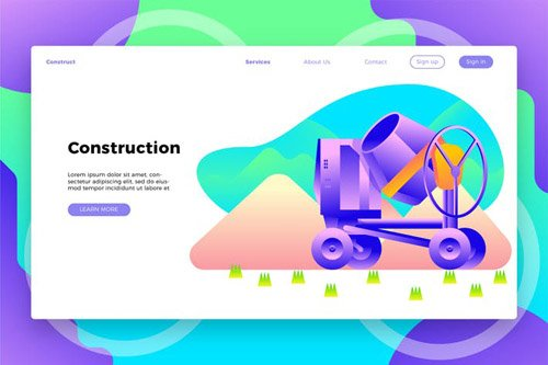 Construction Site Mixer - Banner & Landing Page