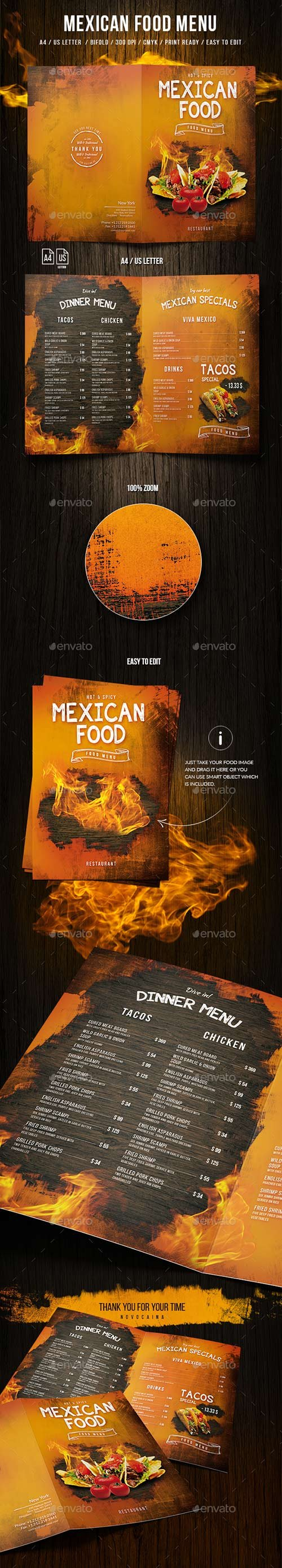 Graphicriver - Mexican A4 and US Letter Food Menu 20000112