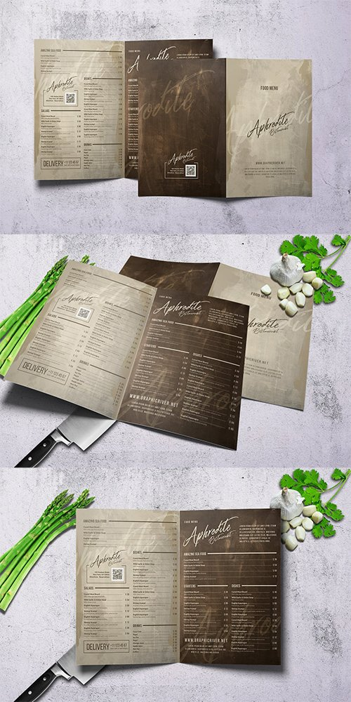 Vintage Style Bifold Menu - A4 and US Letter