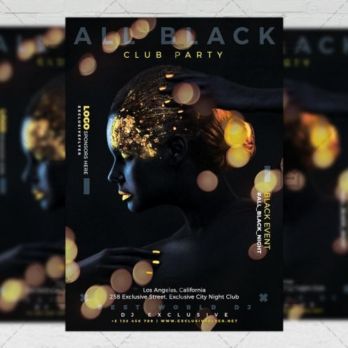 Club A5 Template - All Black Party Flyer