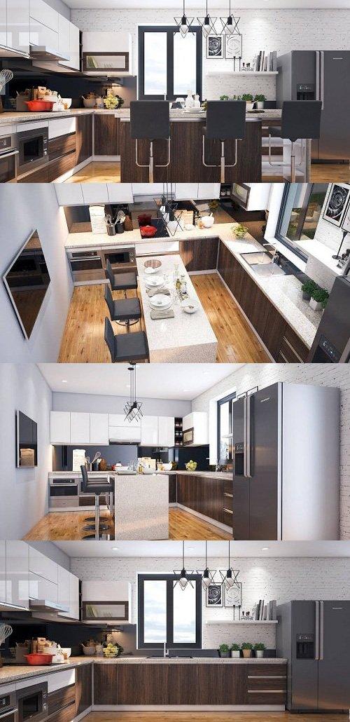 Modern Kitchen Interior Scene