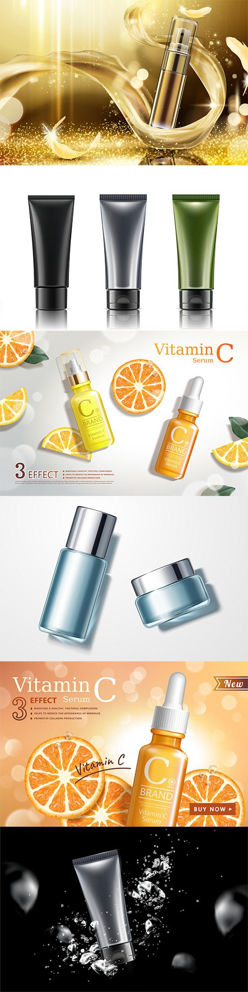 Skincare spray ads in 3d illustration, cosmetic plastic tubes set