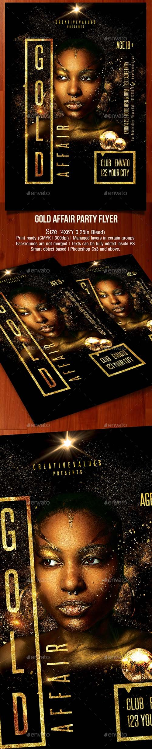 GraphicRiver - Gold Affair Party Flyer 22485458