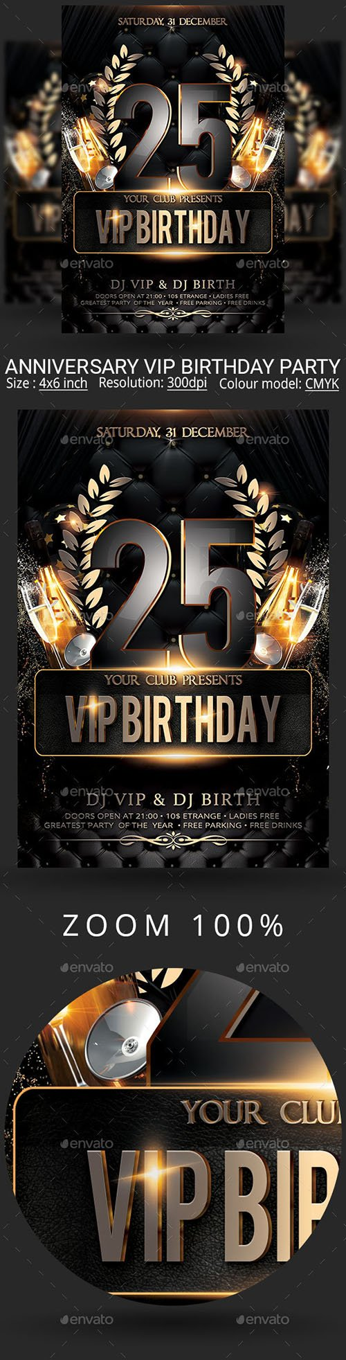 GraphicRiver - Vip Birthday Anniversary Party Flyer 22489680