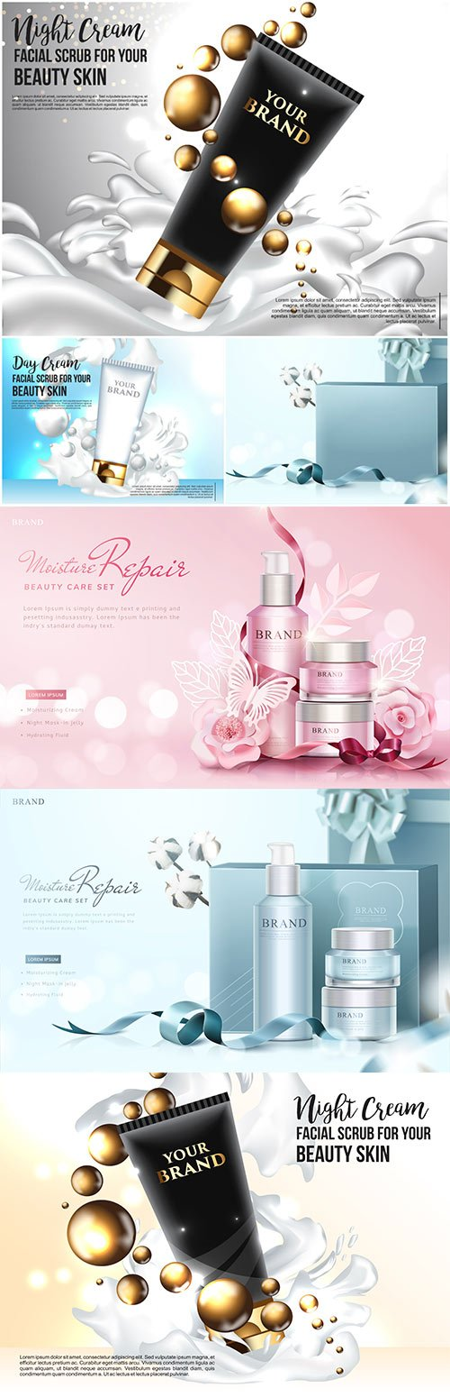 Cosmetics promotional poster design vector illustration