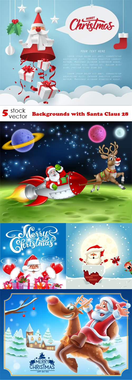 Vectors - Backgrounds with Santa Claus 28