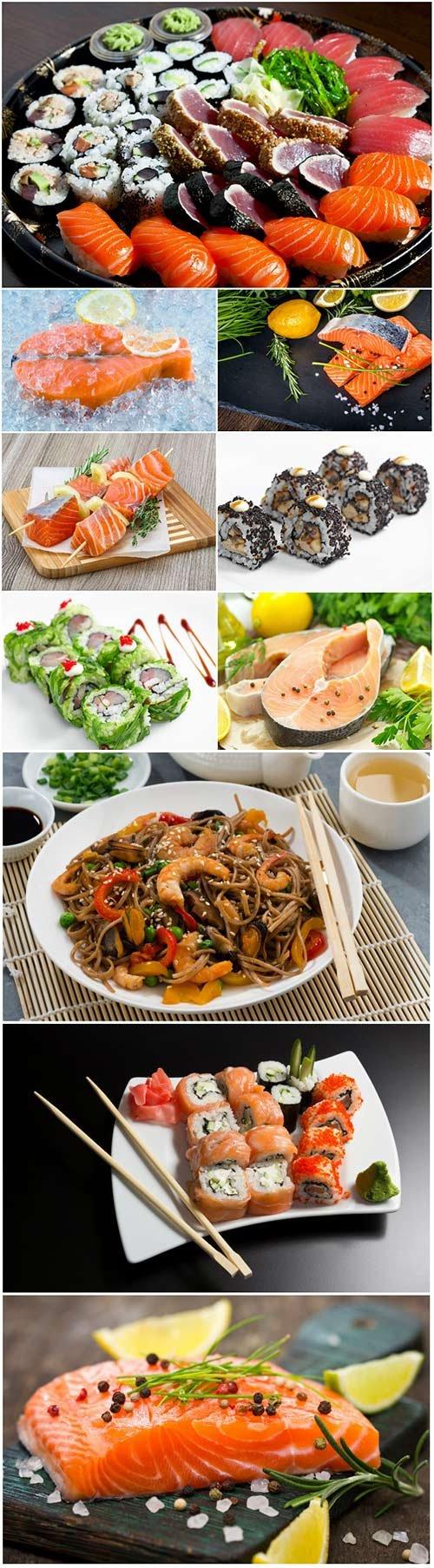Delicious seafood, salmon, sushi, shrimp