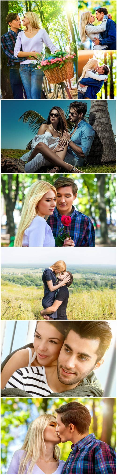 Young couple outdoor portrait, beautiful pretty girl kissing handsome boy