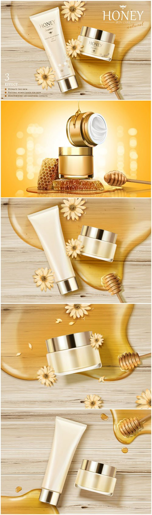 Honey skin care ads with golden color syrupin 3d vector illustration