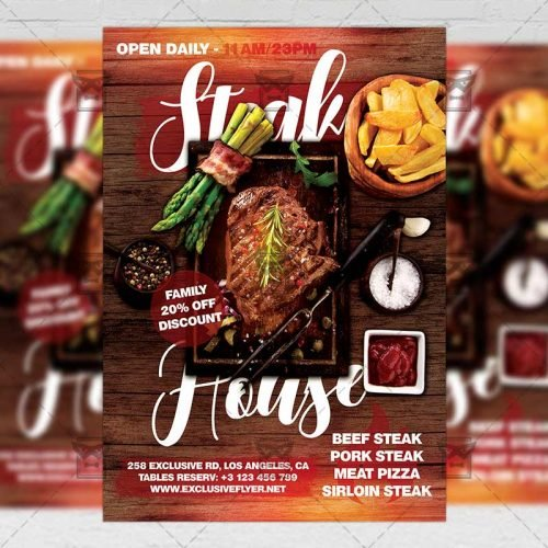 Food A5 Template - Steak House Flyer