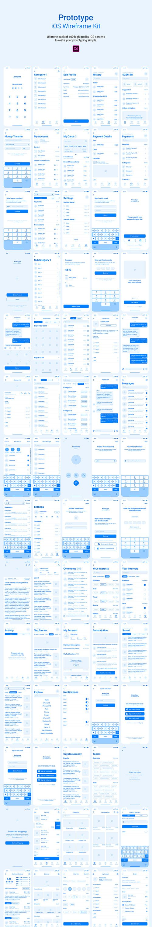 Prototype iOS Wireframe Kit