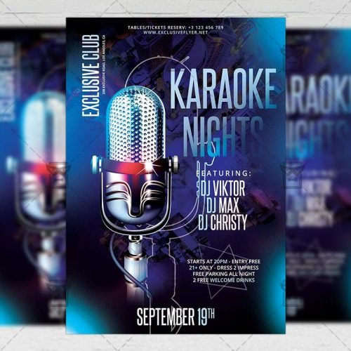 Club A5 Template - Karaoke Nights Flyer