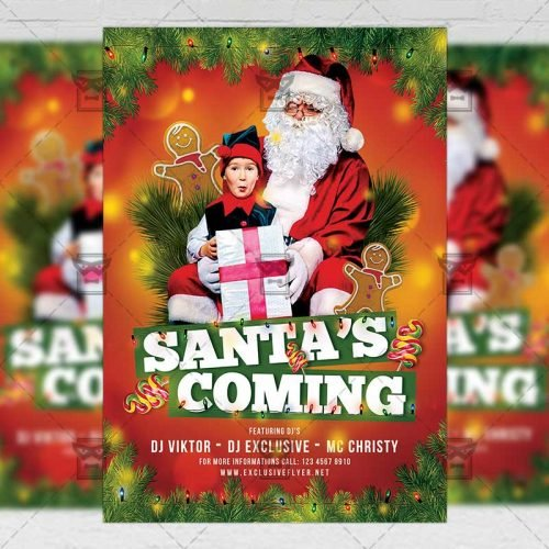 Santa's Coming Party - Seasonal A5 Flyer Template