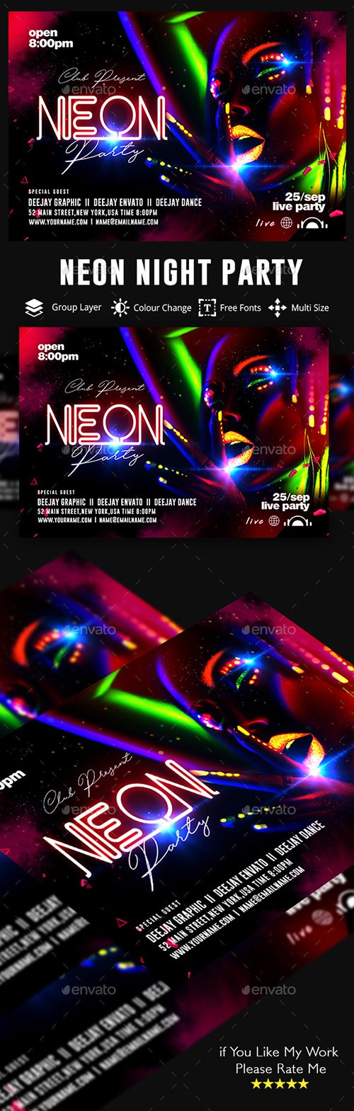GraphicRiver - Neon Party Flyer 22471665