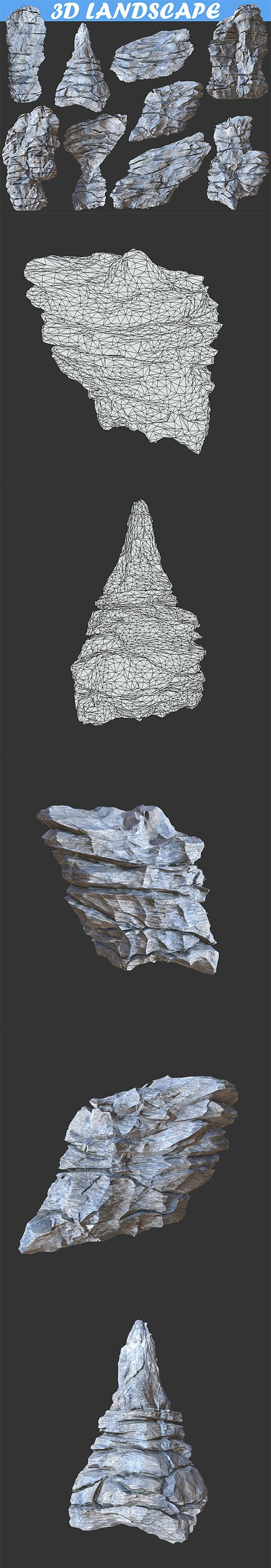 Low poly Realistic Rocky Sharp Cliff Modular Pack