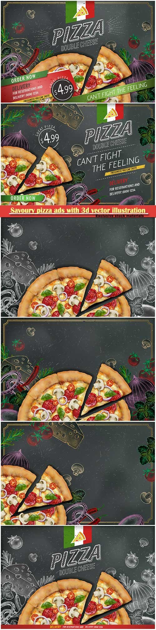 Savoury pizza ads with 3d vector illustration