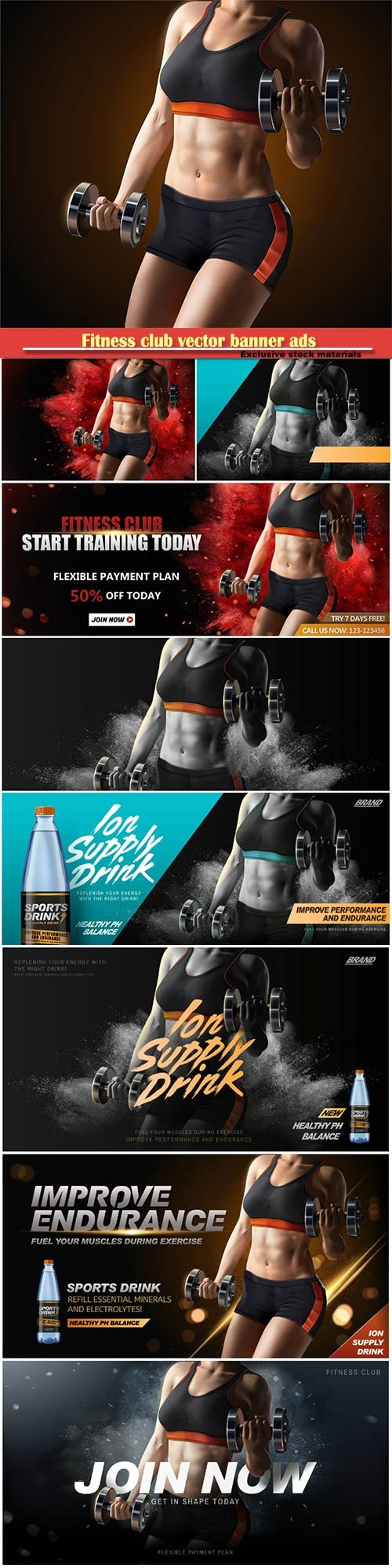 Fitness club vector banner ads