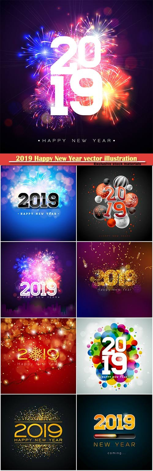2019 Happy New Year vector illustration with 3d number, party invitation or calendar