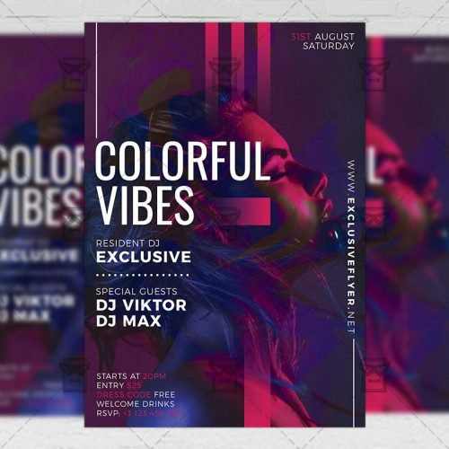 Club A5 Template - Colorful Vibes Flyer