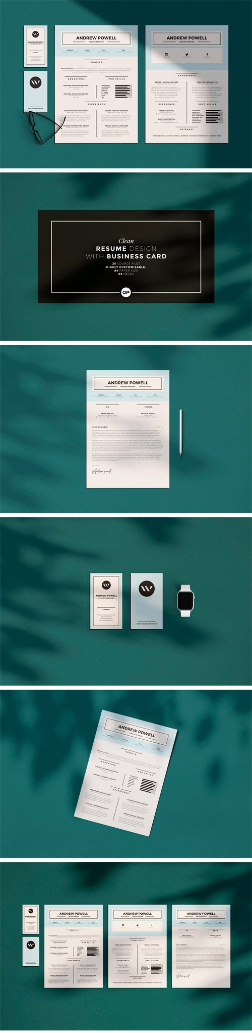 CM - Clean Resume with Business Card 2950309