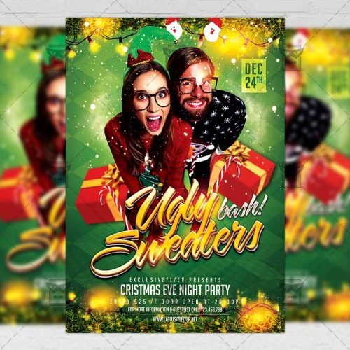 Seasonal A5 Flyer/Poster Template - Ugly Sweaters Bash