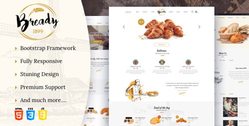 ThemeForest - Bready v1.2 - Bakery, Cakery & Food Template - 22312550