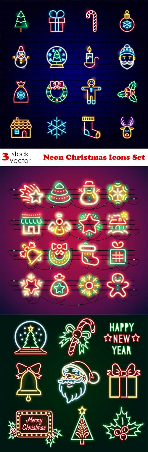Vectors - Neon Christmas Icons Set
