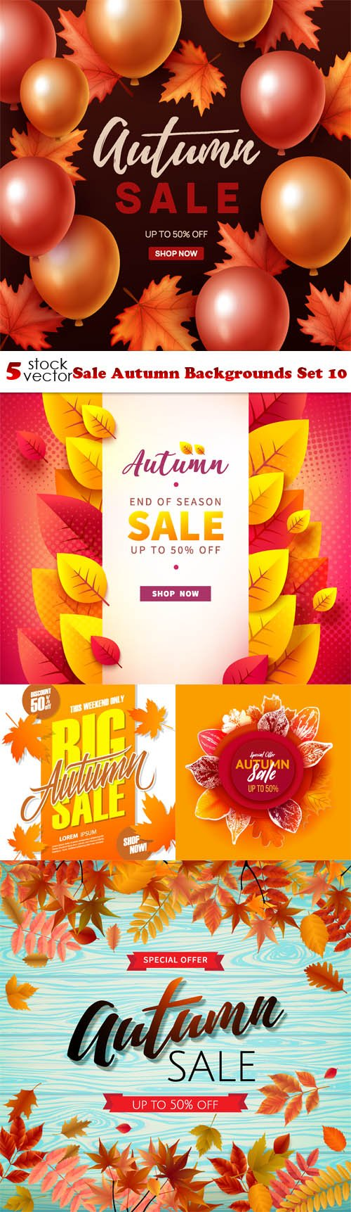 Vectors - Sale Autumn Backgrounds Set 10