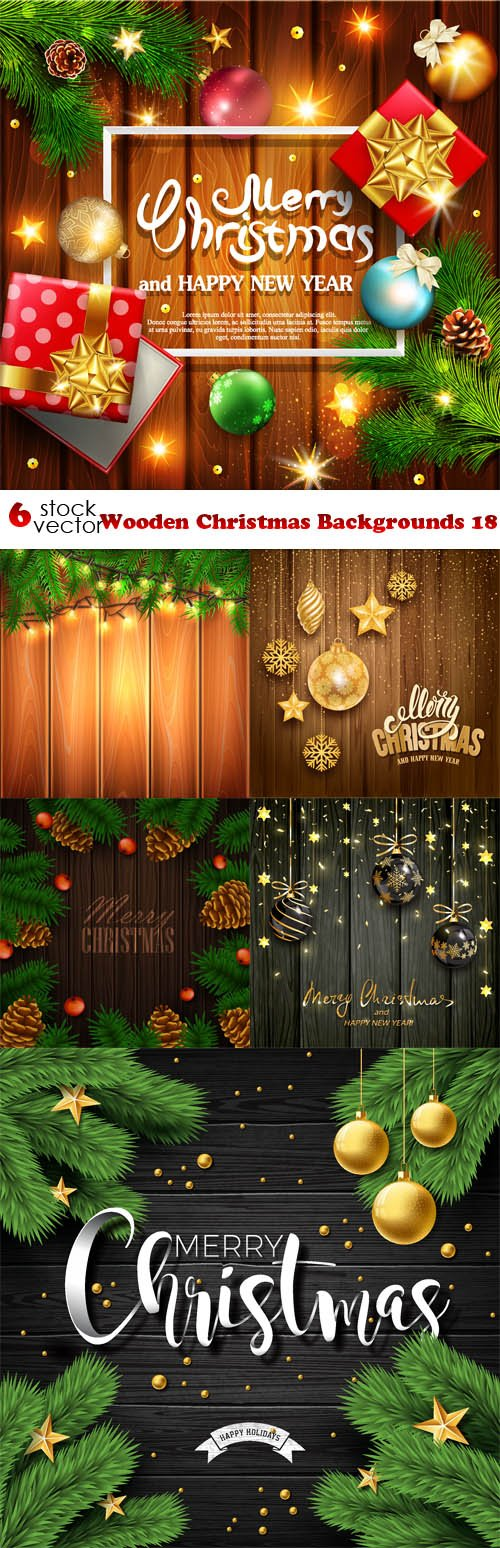 Vectors - Wooden Christmas Backgrounds 18