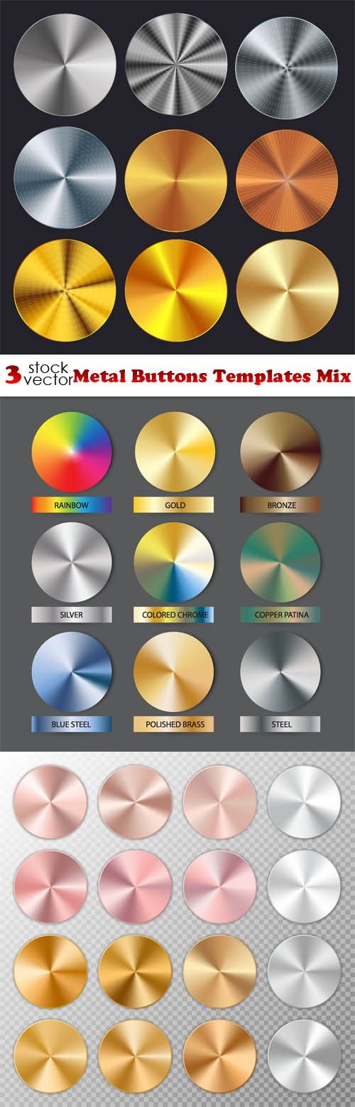 Vectors - Metal Buttons Templates Mix