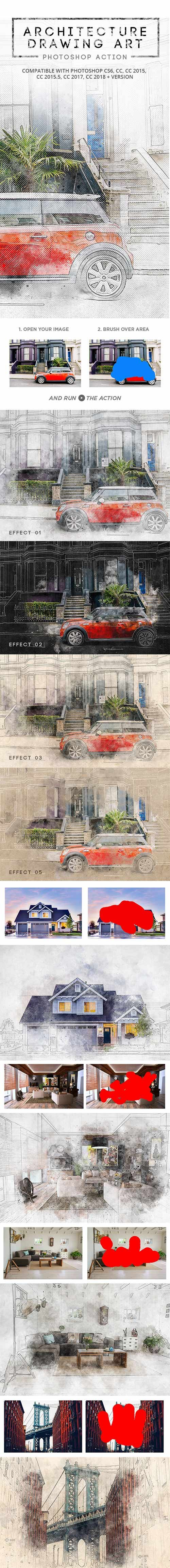 GraphicRiver - Architecture Drawing Art - Photoshop Action 22345479