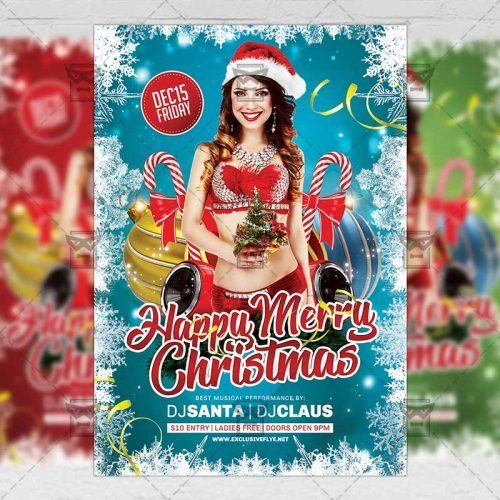 Seasonal A5 Flyer Template - Happy Merry Christmas
