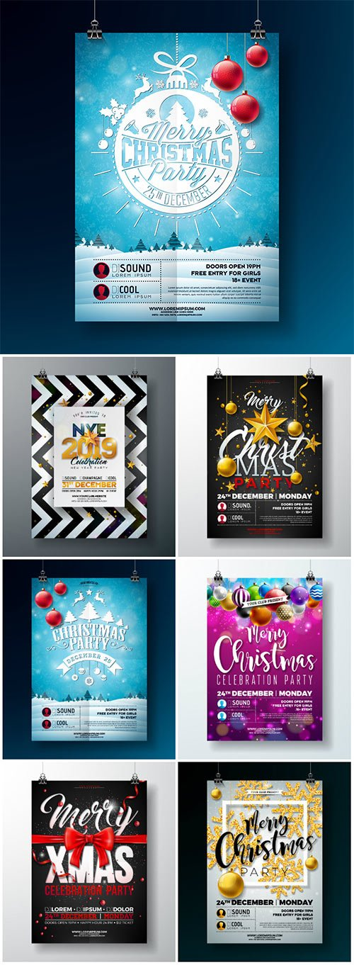 2019 Happy New Year vector illustration with typography lettering, holiday design party flyer