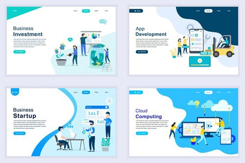 Landing Page Templates Flat Concept - 10