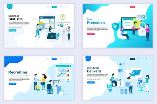 Landing Page Templates Flat Concept - 12