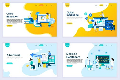 Landing Page Templates Flat Concept - 13